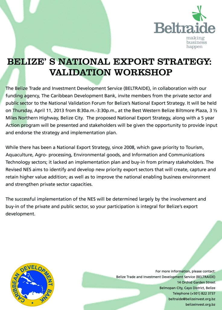 BELIZE' S NATIONAL EXPORT STRATEGY:  VALIDATION WORKSHOP