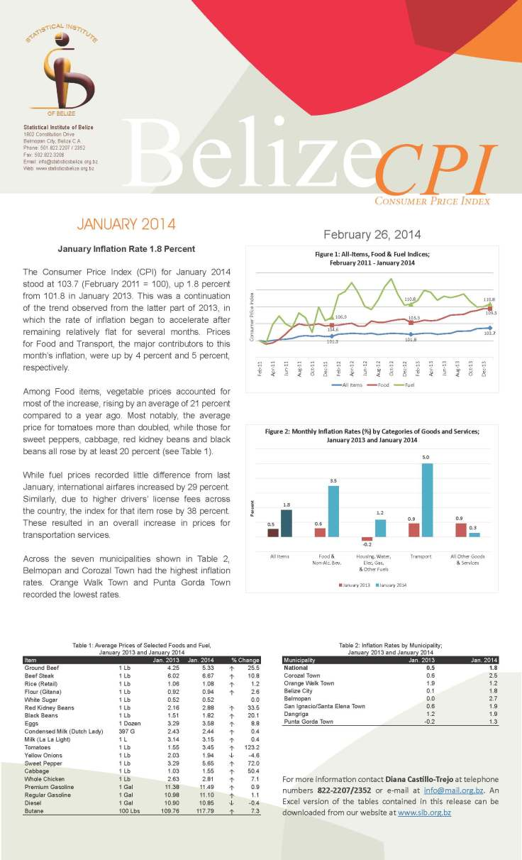 Preliminary Estimates of GDP for 2013 and January 2014 Consumer Price Index