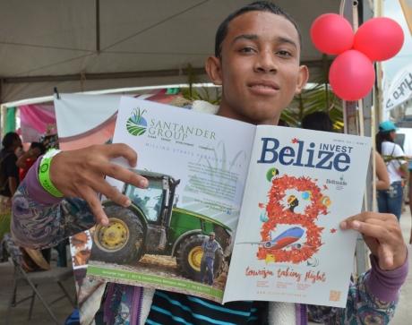 Boy holding magazine