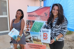 Two UB students pose for the camera at Beltraide booth
