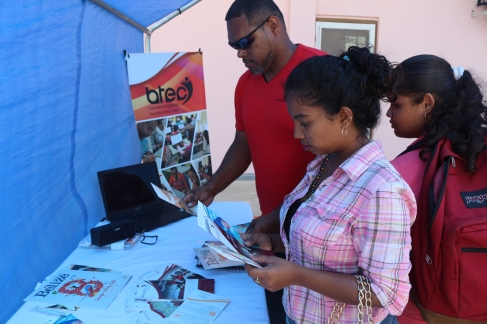 Visitors to Beltraide booth at UB Career Fair
